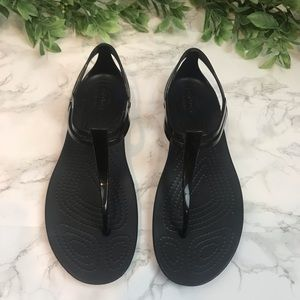 CROCS Black Thong Sandals EUC size 7